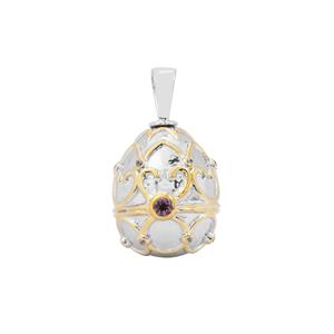 Mahenge Purple Spinel Moscow Egg Pendant with White Zircon in Two Tone Gold Plated Sterling Silver 0.42ct