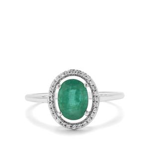 Zambian Emerald Ring with White Zircon in 9K White Gold 1.35cts
