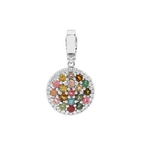 Rainbow Tourmaline Pendant with White Zircon in Platinum Plated Sterling Silver 3.12cts