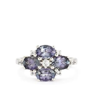 Bi-Color Tanzanite & White Topaz Sterling Silver Ring ATGW 2.74cts