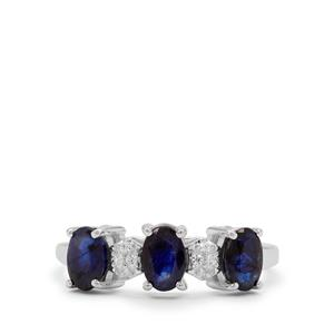 Thai Sapphire & White Zircon Sterling Silver Ring ATGW 1.80cts