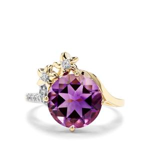 Moroccan Amethyst & White Zircon 9K Gold Ring ATGW 4.40cts