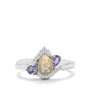 Ethiopian Opal, Tanzanite Ring with White Zircon in Sterling Silver 0.92ct
