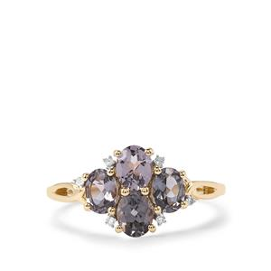 Mahenge Blue Spinel Ring with Diamond in 10K Gold 1.45cts
