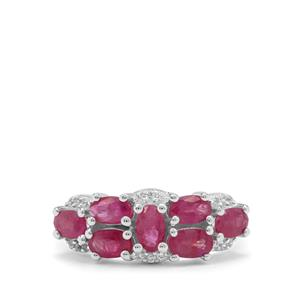 Burmese Ruby & White Zircon Sterling Silver Ring ATGW 2.05cts