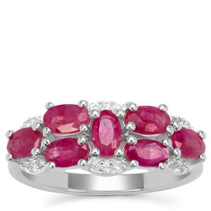 Burmese Ruby Ring with White Zircon in Sterling Silver 2.05cts