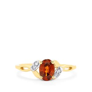 Cognac Zircon & Diamond 10K Gold Ring ATGW 1.32cts