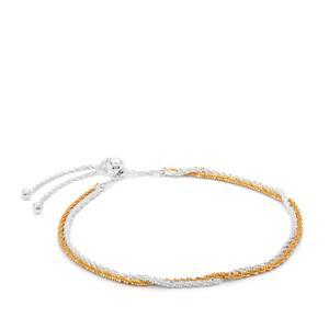 "10"" Two Tone Sterling Silver Altro Diamond Cut Millennium Slider Bracelet 3.13g"