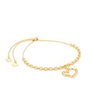 "10"" Midas Altro Diamond Cut Heart Slider Bracelet 2.76g"