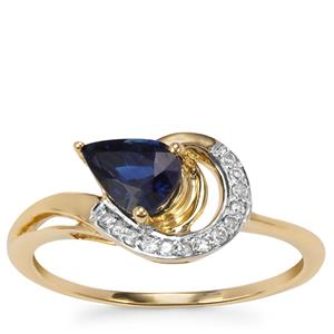 Australian Blue Sapphire Ring with Diamond in 9K Gold 0.97cts