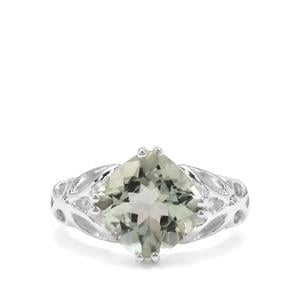Montezuma Prasiolite Ring in Sterling Silver 4.18cts
