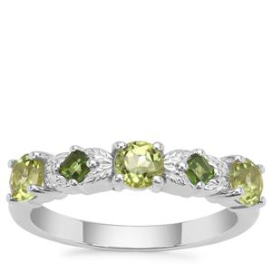 Red Dragon Peridot Ring with Chrome Diopside in Sterling Silver 0.98ct