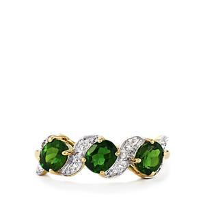Chrome Diopside Ring with Diamond in 10K Gold 1.27cts