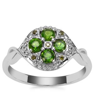 Chrome Tourmaline Ring with Green Diamond in Sterling Silver 0.54cts