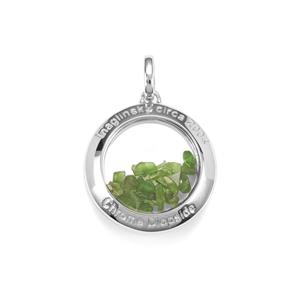 Chrome Diopside & Optic Quartz Sterling Silver Moments Pendant ATGW 11.91cts