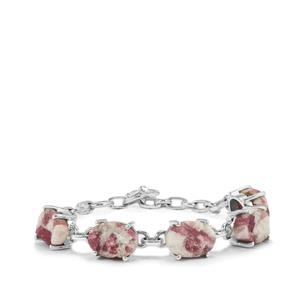Pink Tourmaline Drusy Bracelet in Sterling Silver 35cts