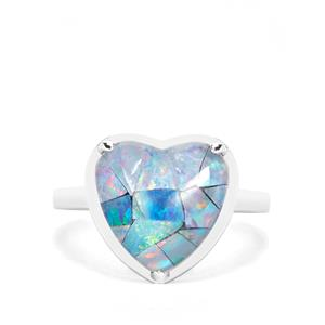 Mosaic Opal Heart Ring in Sterling Silver (11.50x12.50mm)