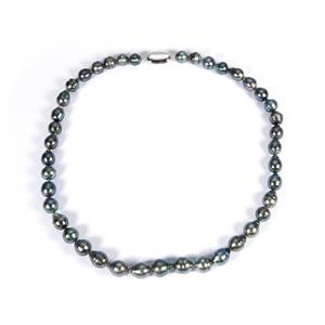 Tahitian Cultured Pearl Necklace in Sterling Silver (10x8mm)