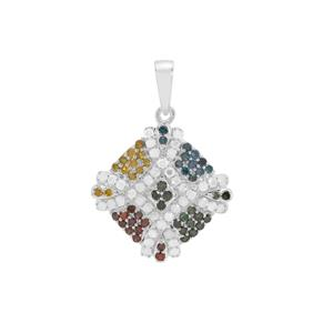 Multi-Color Diamond Pendant with in Sterling Silver 0.76ct