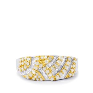 Diamond Ring  in Gold Plated Sterling Silver 0.76ct