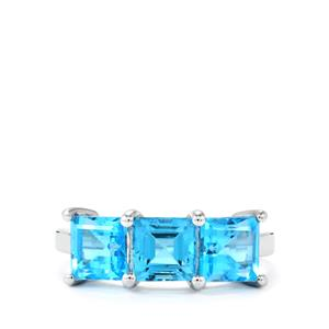 Swiss Blue Topaz Ring in Sterling Silver 4.04cts