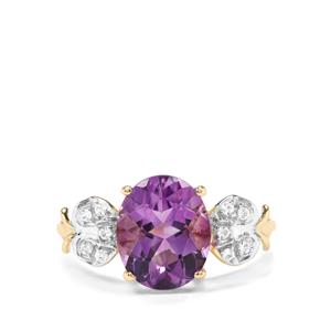 Moroccan Amethyst & White Zircon 9K Gold Ring ATGW 3.32cts