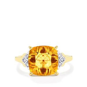 Lehrer KaleidosCut Diamantina Citrine, Thai Ruby Ring with Diamond in 10K Gold 3.22cts (F)