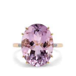 Rose De France Amethyst Ring with Diamond in 9K Gold 8.05cts