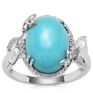 Sleeping Beauty Turquoise Ring with White Zircon in Sterling Silver 5cts