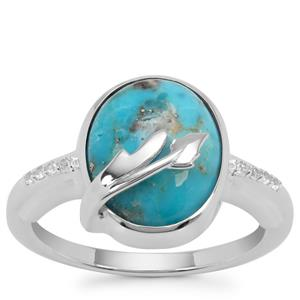 Bonita Blue Turquoise Ring with White Zircon in Sterling Silver 4.90cts