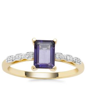 Bengal Iolite Ring with Diamond in 9K Gold 0.79ct