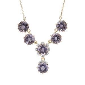 Montezuma Blue Quartz Necklace with Diamond in 9K Gold 7.36cts