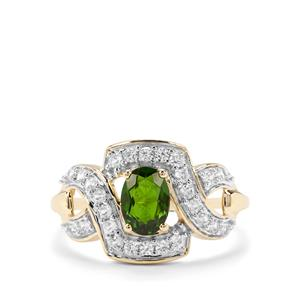 Chrome Diopside & White Zircon 9K Gold Ring ATGW 1.39cts