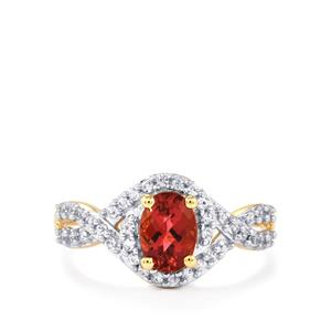 Natural Pink Tourmaline & White Zircon 10K Gold Ring ATGW 1.13cts