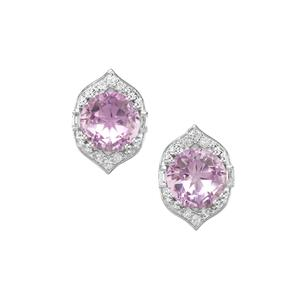 Lone Star Rose De France Amethyst Earrings with White Topaz in Sterling Silver 4.41cts