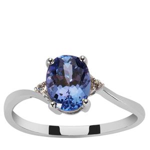 Tanzanite Ring with White Zircon in 9K White Gold 1.33cts