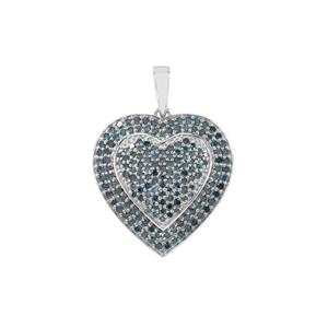 1.05ct Blue Diamond Sterling Silver Heart Pendant