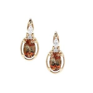 Sopa Andalusite Earrings with White Zircon in 9K Gold 1cts