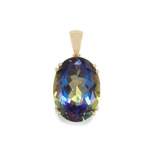 Mystic Blue Topaz Pendant in 10k Gold 14.91cts