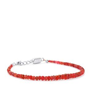 Red Spinel Graduated Beads Bracelet With Magnetic Clasp in Sterling Silver 22.10cts