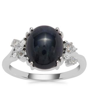 Madagascan Blue Star Sapphire,  Sky Blue Topaz Ring with White Zircon in Sterling Silver 6.03cts