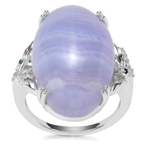 Blue Lace Agate, White Zircon Ring with Blue Diamond in Sterling Silver 17.76cts