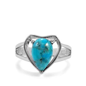 Bonita Blue Turquoise Ring in Sterling Silver 3.37cts