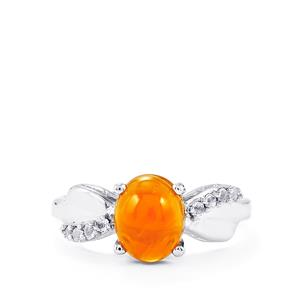 Orange American Fire Opal & White Topaz Sterling Silver Ring ATGW 1.66cts