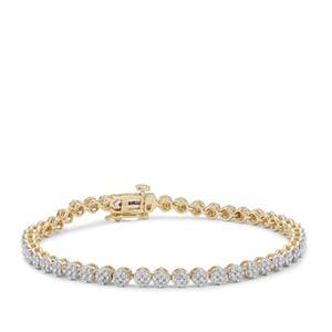 Champagne Diamond Bracelet in 9K Gold 2cts