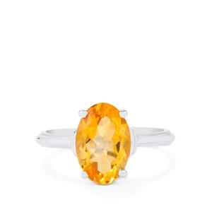 5.20ct Diamantina Citrine Sterling Silver Ring