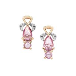 Rose Cut Purple Sapphire & Diamond 9K Gold Earrings ATGW 0.93ct