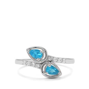 Neon Apatite & White Zircon Sterling Silver Ring ATGW 0.62cts