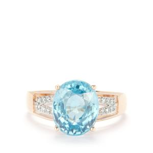 Ratanakiri Blue Zircon Ring with White Zircon in 10K Gold 5.97cts