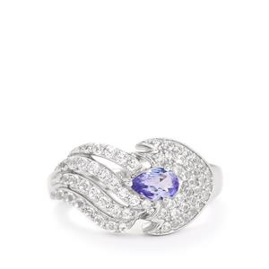 AA Tanzanite & White Topaz Sterling Silver Ring ATGW 1.27cts